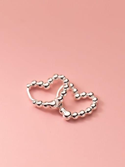 Rosh 925 Sterling Silver Bead Heart Minimalist Huggie Earring 1