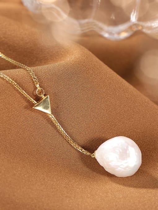DEER 925 Sterling Silver Freshwater Pearl Irregular Vintage Lariat Necklace 1