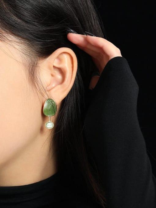 DAKA 925 Sterling Silver Enamel  Asymmetry Geometric Vintage Drop Earring 3