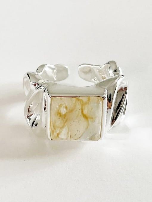 Boomer Cat 925 Sterling Silver Geometric Vintage Concave Convex Stone  Band Ring 2