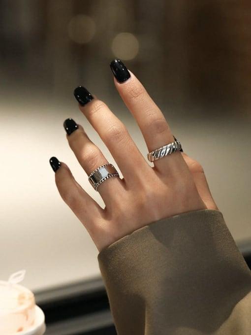 DAKA 925 Sterling Silver Geometric Vintage Band Ring 2