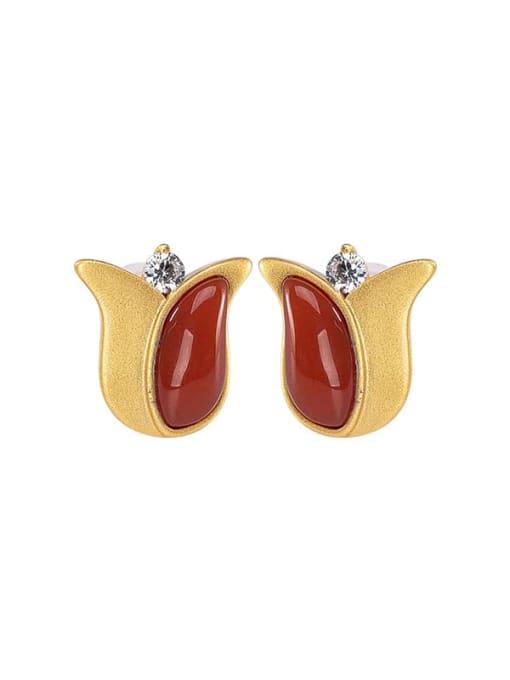 DEER 925 Sterling Silver Carnelian Flower Vintage Stud Earring 2