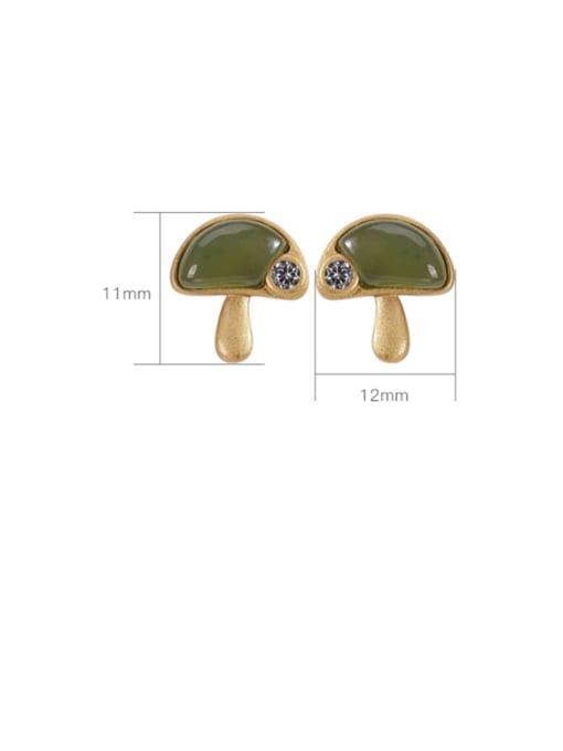 DEER 925 Sterling Silver Jade Mushroom Vintage Stud Earring 2
