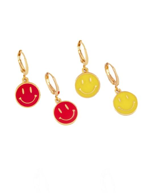 CC Brass Enamel Smiley Minimalist Huggie Earring