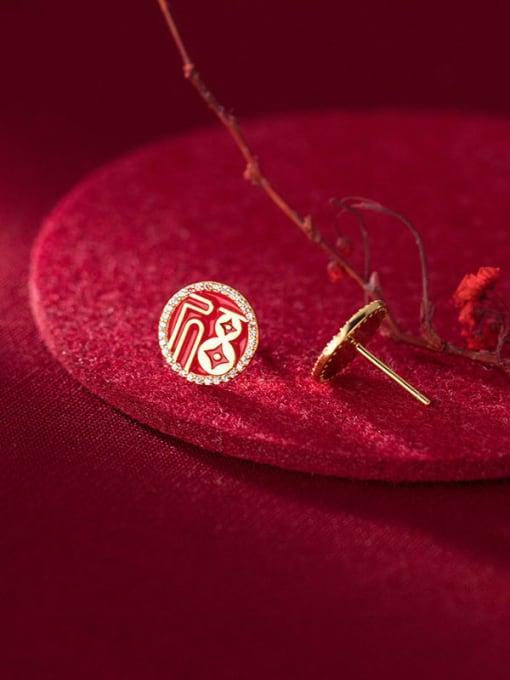 Rosh 925 Sterling Silver Cubic Zirconia Enamel Round Ethnic Stud Earring 1