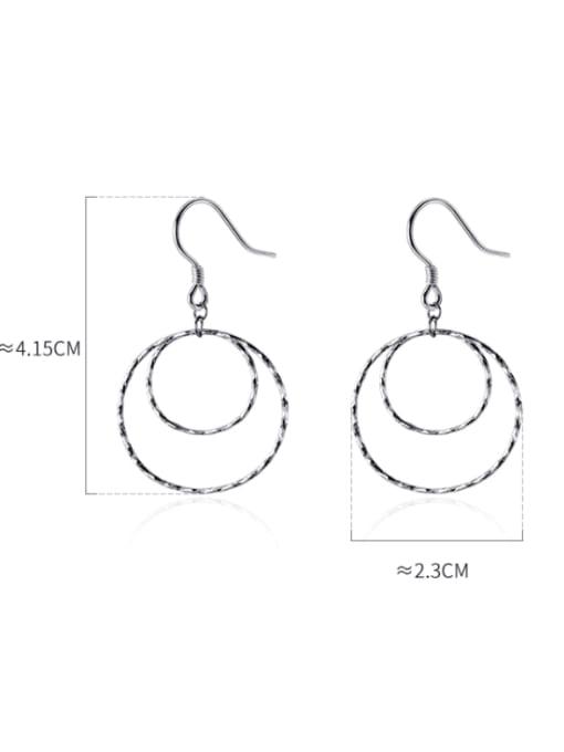 Rosh 925 Sterling Silver Geometric Minimalist Hook Earring 3