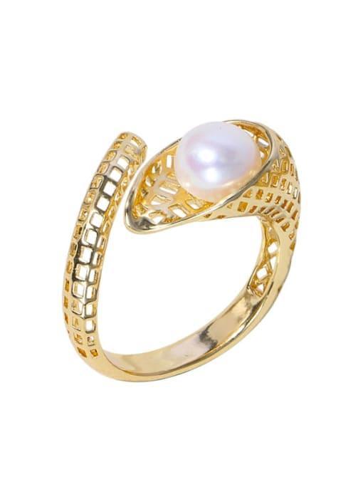 RAIN Brass Freshwater Pearl Irregular Vintage Band Ring 0