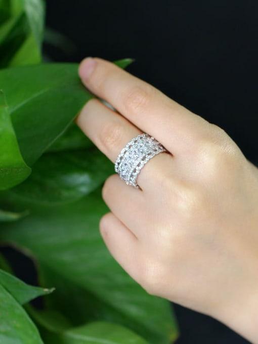 L.WIN Brass Cubic Zirconia Geometric Luxury Statement Ring 1