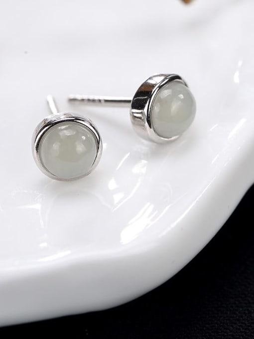 White jade 925 Sterling Silver Jade Round Cute Stud Earring