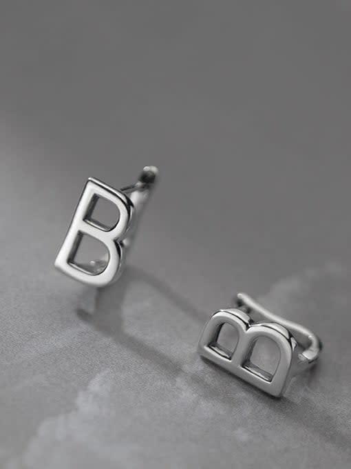 Rosh 925 Sterling Silver Letter Minimalist Stud Earring