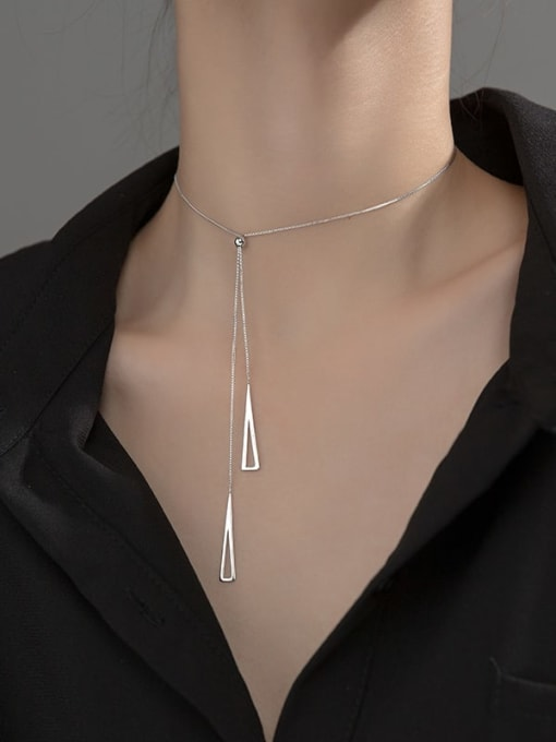 Rosh 925 Sterling Silver Triangle Minimalist Lariat Necklace 1