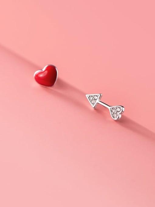 Rosh 925 Sterling Silver Enamel Asymmetric red love  Heart Minimalist Stud Earring