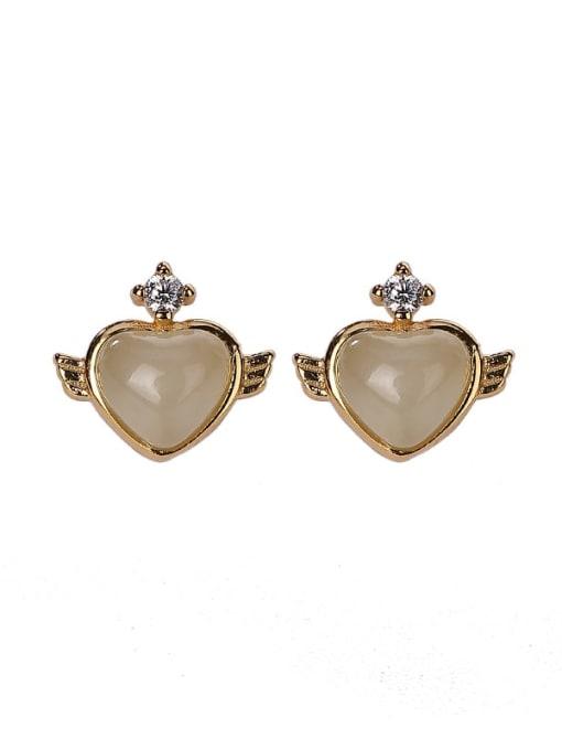 DEER 925 Sterling Silver Jade Heart Vintage Stud Earring