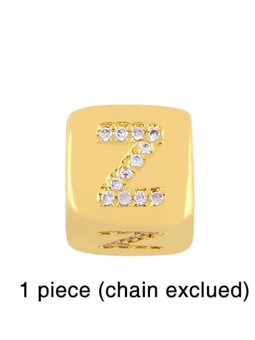 Z Brass Cubic Zirconia square Letter Minimalist Adjustable Bracelet