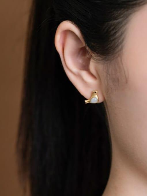 DEER 925 Sterling Silver Jade Bird Cute Stud Earring 1