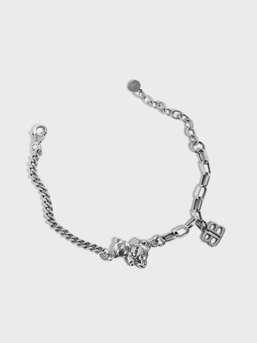 DAKA 925 Sterling Silver Bear Vintage Hollow Chain Link Bracelet