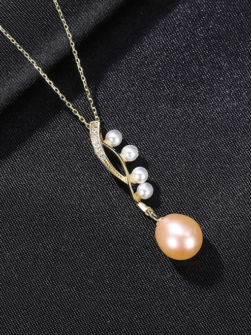 Pink 8B06 925 Sterling Silver Freshwater Pearl Water Drop Minimalist Necklace
