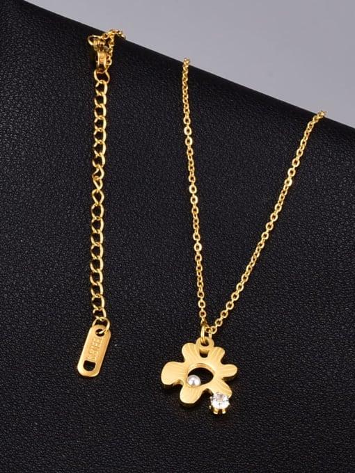 A TEEM Titanium Steel Hollow Flower Minimalist Necklace 1