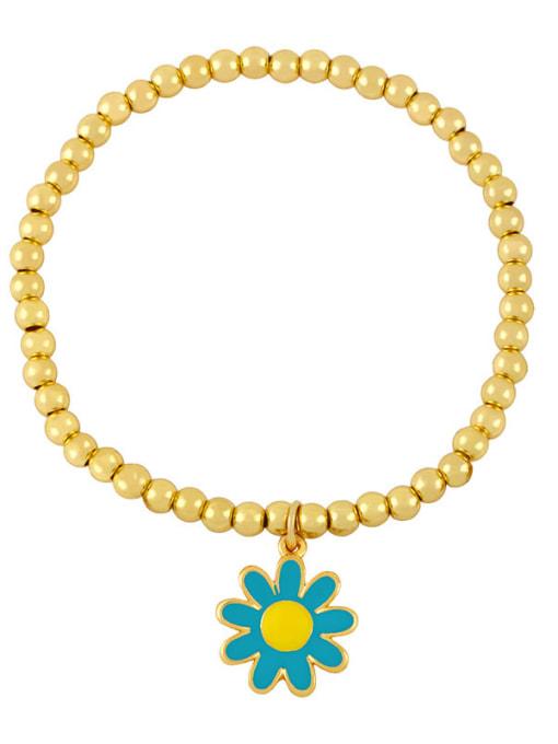 E (blue flower) Brass Bead Enamel Flower Hip Hop Beaded Bracelet