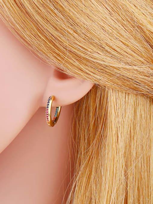 CC Brass Cubic Zirconia Heart Vintage Huggie Earring 3