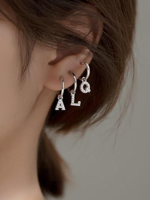 Rosh 925 Sterling Silver Cubic Zirconia Letter Minimalist Single Earring 2