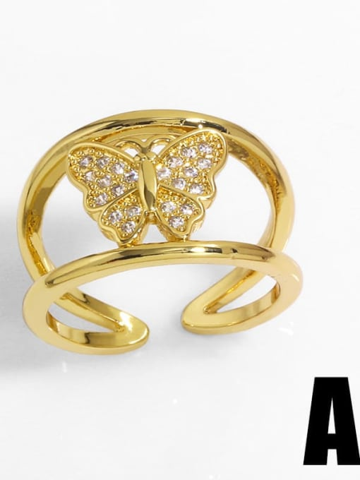 A Brass Cubic Zirconia Heart Vintage Band Ring