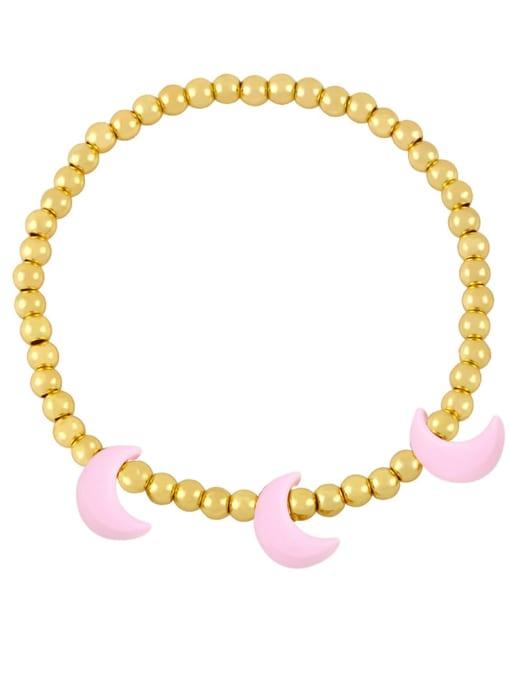 Pink Brass Enamel Moon Minimalist Beaded Bracelet