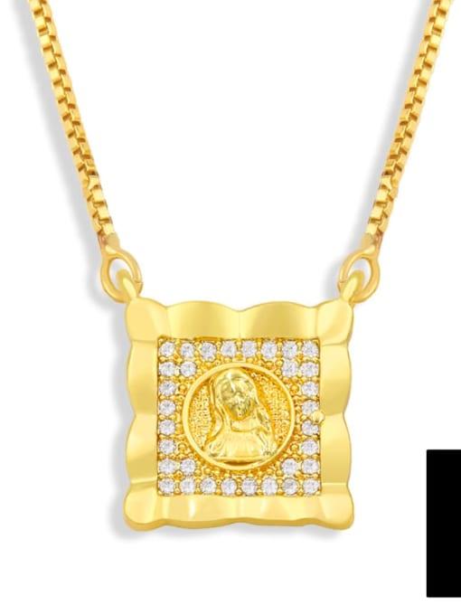 B Brass Cubic Zirconia Religious Vintage Necklace