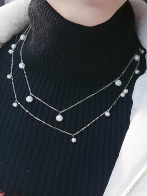 RAIN Brass Freshwater Pearl Geometric Minimalist Multi Strand Necklace 1