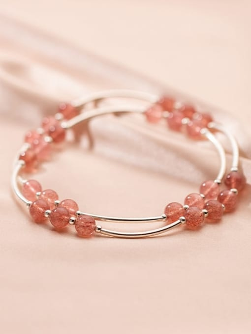 Rosh 925 Sterling Silver Round Strawberry crystal Minimalist Stretch Bracelet 1