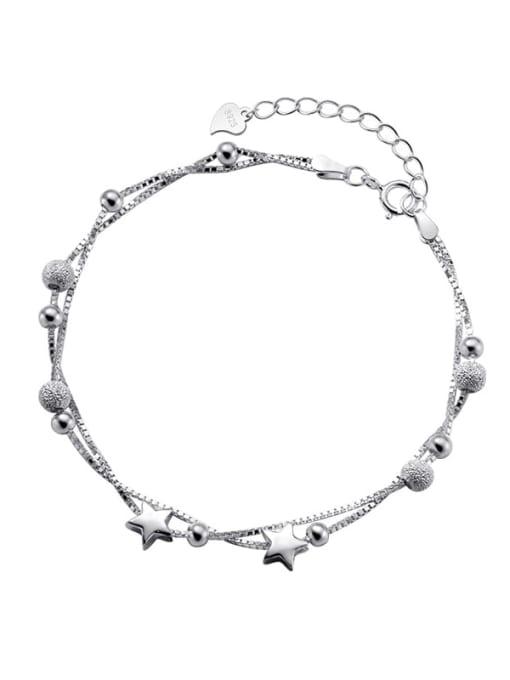 Rosh 925 Sterling Silver Bead Star Minimalist Strand Bracelet