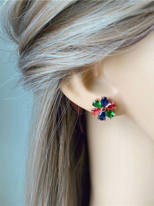 DUDU Brass Cubic Zirconia Multi Color Flower Dainty Stud Earring 2
