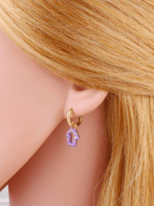 CC Brass Enamel Geometric Vintage Huggie Earring 1