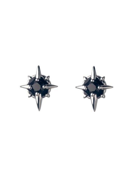 Rosh 925 Sterling Silver Cubic Zirconia Cross Trend Stud Earring 2