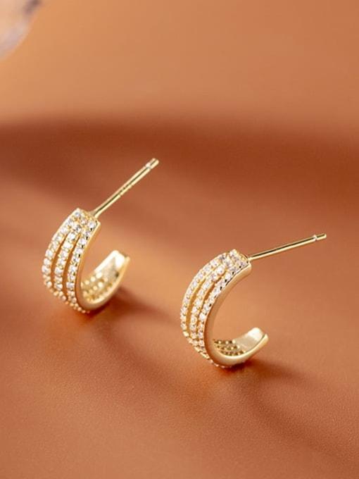 Rosh 925 Sterling Silver Cubic Zirconia Geometric Vintage Stud Earring