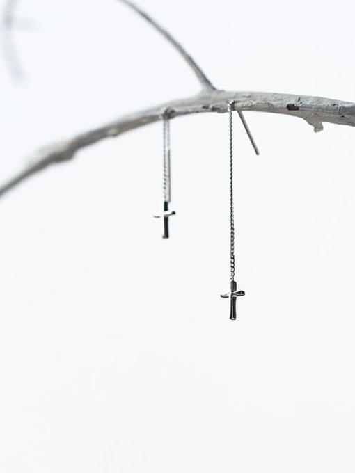 Rosh 925 Sterling Silver Cross Tassel Minimalist Threader Earring 1