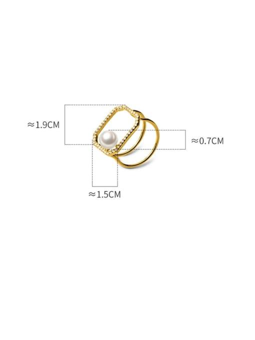 Rosh 925 Sterling Silver Imitation Pearl Geometric Minimalist Band Ring 4