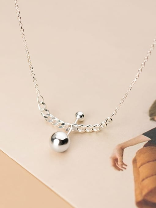 Rosh 925 Sterling Silver Ball Minimalist Necklace 2