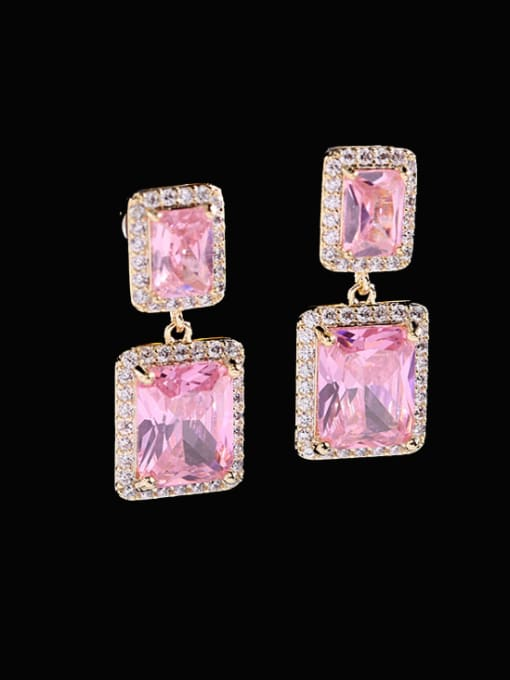 Luxu Brass Cubic Zirconia Geometric Luxury Drop Earring