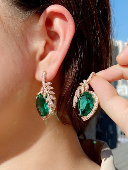L.WIN Brass Cubic Zirconia Leaf Luxury Stud Earring 1