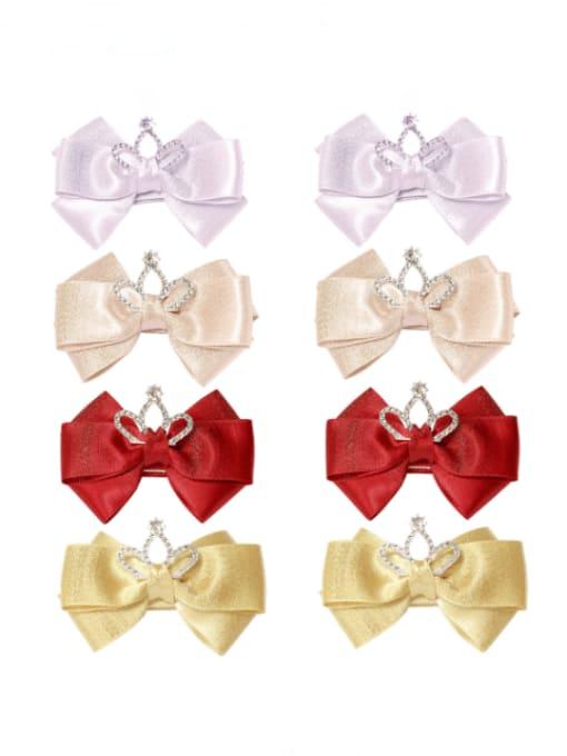 YOKI KIDS Alloy Fabric Cute Bowknot  Rhinestone White Hair Barrette