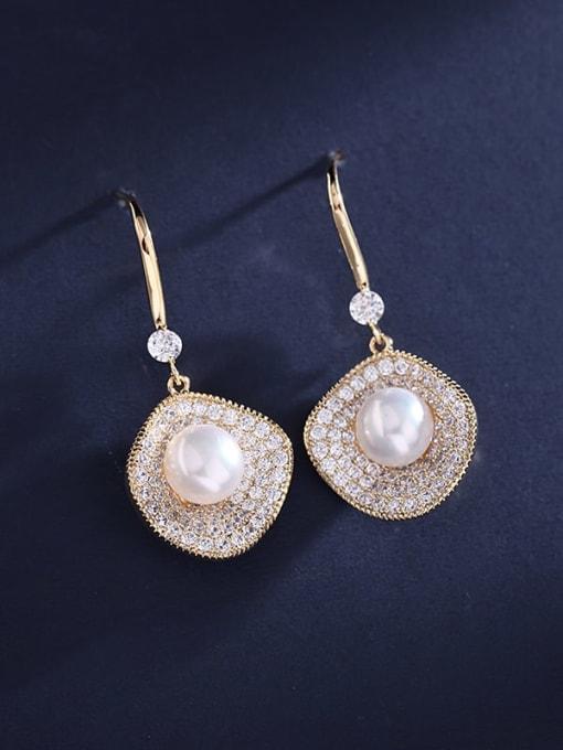 Luxu Brass Cubic Zirconia Geometric Dainty Hook Earring 3