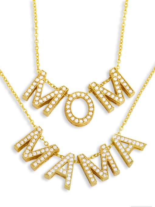 CC Brass Cubic Zirconia Minimalist MOM Letter  Pendant Necklace 0