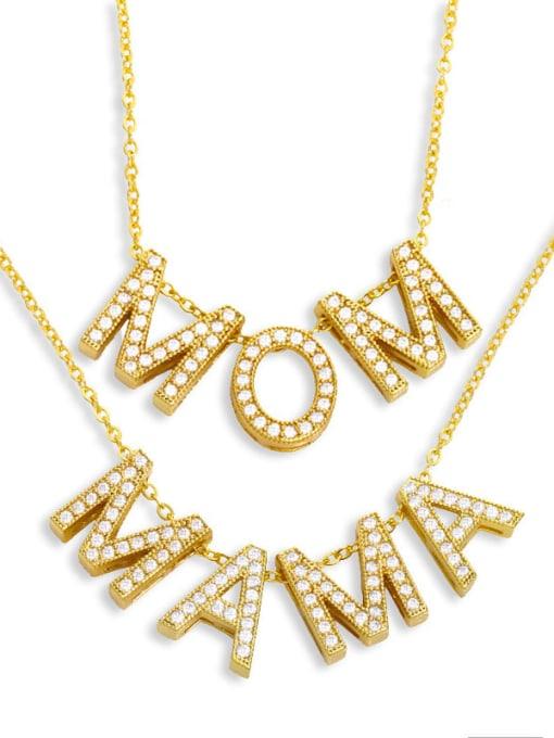 CC Brass Cubic Zirconia Minimalist MOM Letter  Pendant Necklace