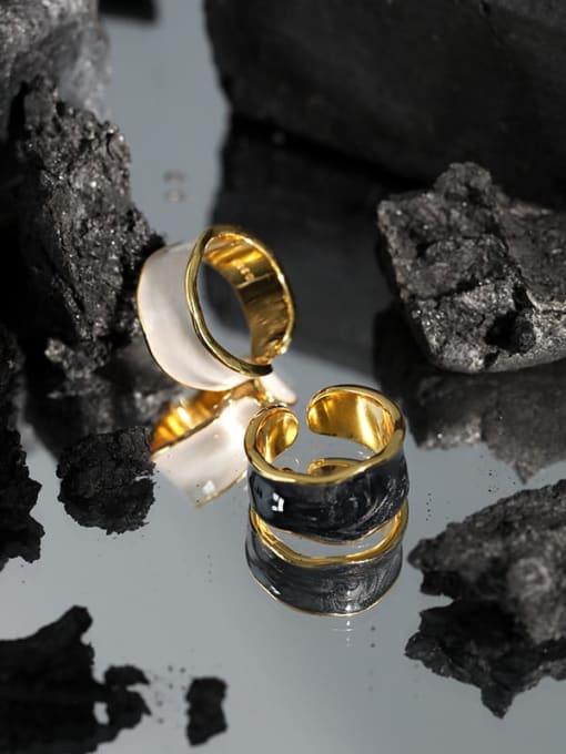 Dak Phoenix 925 Sterling Silver Enamel Irregular Minimalist Band Ring 1