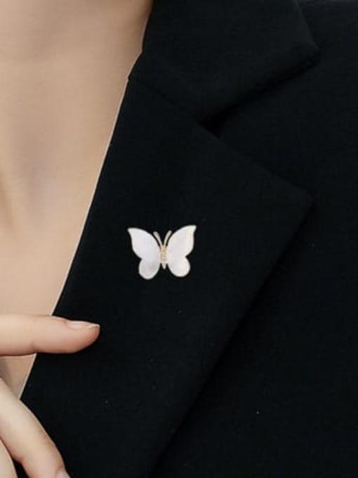 Luxu Brass Cats Eye Butterfly Minimalist Brooch 1