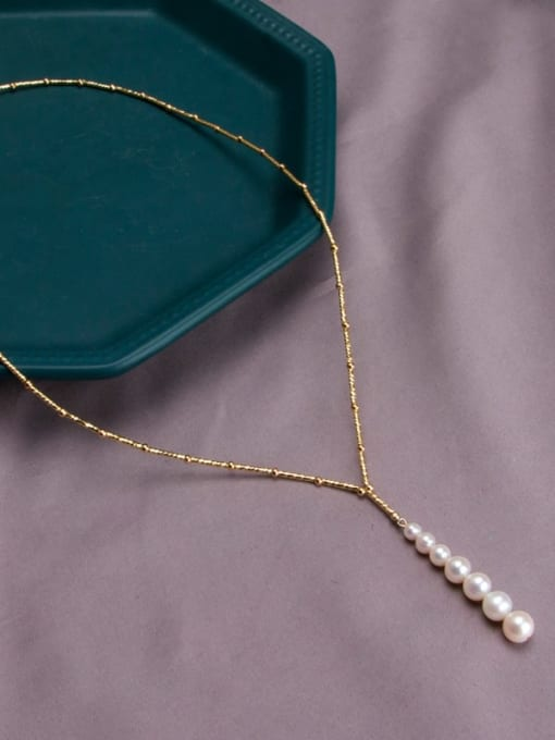 gold+white Brass Freshwater Pearl Geometric Minimalist Lariat Necklace