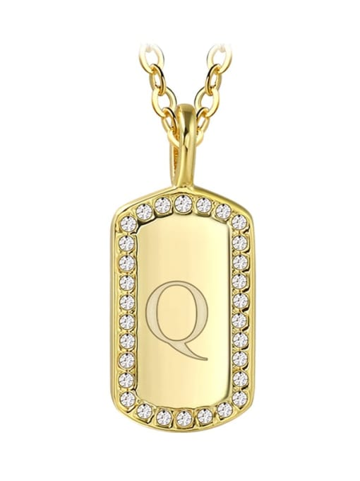 Gold letter Q Brass Rhinestone Letter Minimalist Necklace