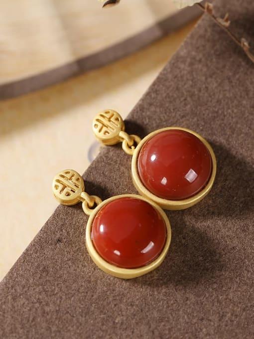 South Red 925 Sterling Silver Jade Geometric Minimalist Stud Earring