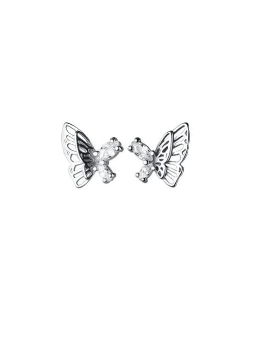 Rosh 925 Sterling Silver Rhinestone Butterfly Minimalist Stud Earring 4